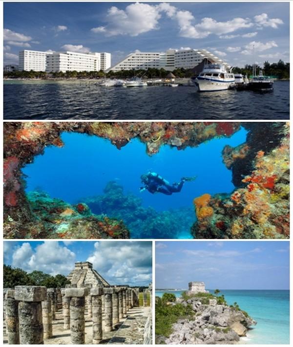 1/ Vue sur Cancun et ses immeubles modernes donnant sur le port; 2/ Récifs de corail du Parc Marin National des Récifs qui font partie de la deuxième plus grande barrière récifale de corail au monde ; 3/ Sites archéologiques de Chichén Itza  et deTulúm.© www.visitmexico.com