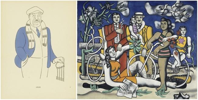 De gauche à droite, Fernand Léger caricature de César Abin. Fernand Léger, Les Loisirs-Hommage à Louis David, 1948 - 1949 Huile sur toile, 154 x 185 cm Centre Pompidou, Musée national d'art moderne - Centre de création industrielle © Centre Pompidou, MNAM-CCI/Jean-François Tomasian/Dist. RMN-GP © Adagp, Paris, 2016