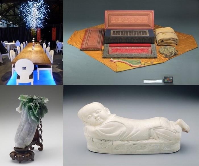 """En haut de gauche à droite : Retaurant dans l'enceinte du Musée du Design  © C.Gary ; Sutras tibétain  ©  Musée national du Palais En bas de gauche à droite : Choux en jade dynastie Qing Musée ; """"Oreiller"""" - Copyright Musée national du Palais;"""