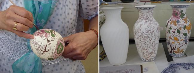 """Le joli """"biscuit"""" blanc est ensuite décoré mécaniquement ou peint à la main, un travail d'artiste. © C.Gary"""