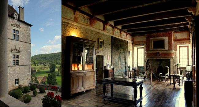 De gauche à droite : Château de Cénevières, la terrasse sur le Lot;  Château de Cénevières, le grand salon. Copyright André Degon