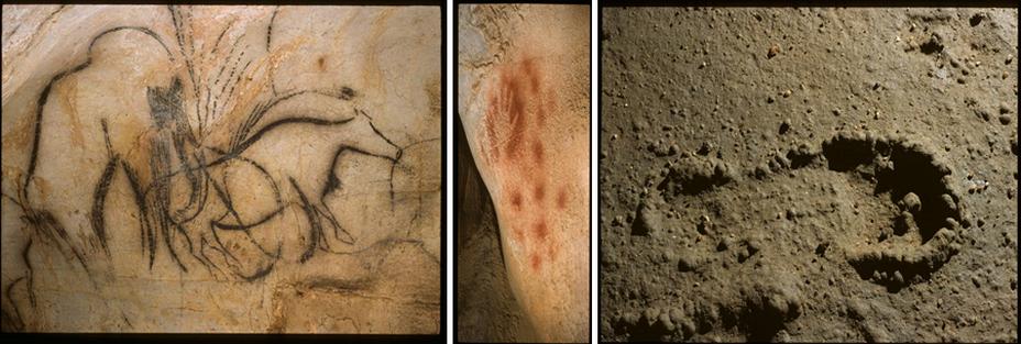 De gauche à droite : Pech Merle,dessins de mammouths et bisons ;Pech Merle empreinte de main ;Pech Merle empreinte de pied   © Lot Tourisme