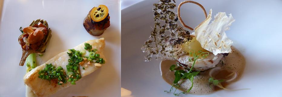 De gauche à droite :  Turbot rôti, mousserons et pak choï grillé ; Croquant léger aux fraises mara des bois ( Copyright C.Gary)