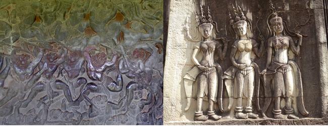 Parmi les bas reliefs : les combats des Pandavas pour leur souveraineté, à la hauteur des récits d'Homère et les danseuses sacrées, les divinités parées de bijoux et de coiffures élaborées .© C.Gary