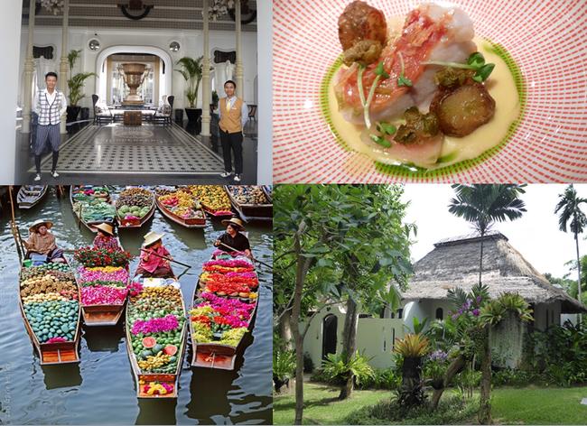 En haut de gauche à droite : L'entrée du J.W.Marriott Lamarck University Emerald Bay de Phu Quoc;  Illustration de  l'irrésistible cuisine thaï dans l'un des restaurants branchés de Bangkok; En bas de gauche à droite : Toutes les saveurs et couleurs d'un magnifique marché flottant; L'hôtel Paradee . Copyright Catherine Gary
