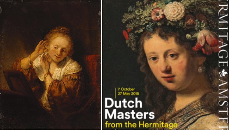 """De gauche à droite : Rembrandt, """"jeune femme aux boucles d'oreilles """" Hermitage  1656 © State Hermitage Museum, St Petersburg ; Affiche des expositions """" Le Siècle d'Or néerlandais """" © State Hermitage Museum, St Petersburg"""