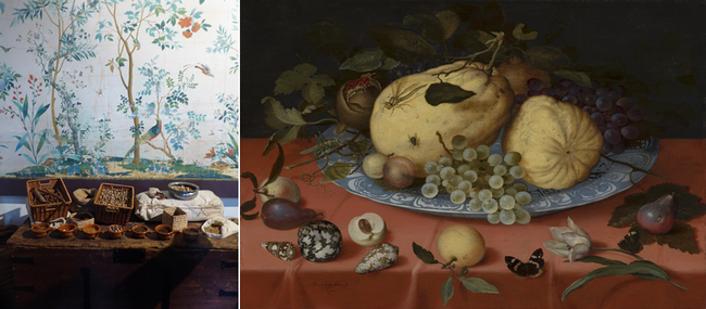 De gauche à droite : Epices commercées par la Compagnie néerlandaise des Indes orientales Copyright Musée de Hoorn ; Balthasar van der Ast, Stilleven met schelp en tulp, 1620, Mauritshuis Copyright C.Gary