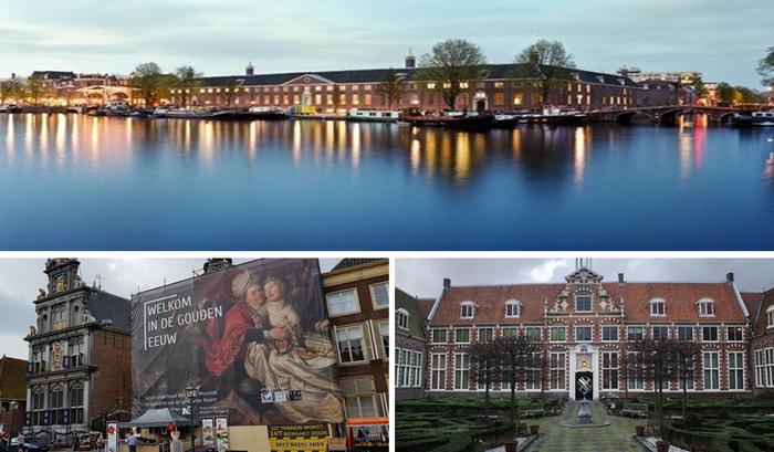 En haut : Le musée de l'Hermitage-Amsterdam ;  De gauche à droite : Musée Frans Hals et Westfries Museum ; Copyright OT Hollande
