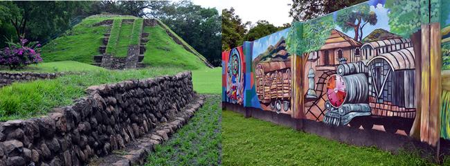 Site archéologique Maya de Tazumal et fresque murale dans le village de Paisnal. Crédit photo David Raynal