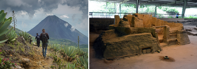 Chemin de randonnée vers le volcan Izalco. Le site archéologique maya de Joya de Ceren (le Pompéi d'Amérique inscrit au patrimoine mondiale de l'Unesco). Crédit photo office de tourisme du Salvador et David Raynal.