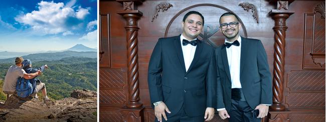 Porte du diable à San Salvador et damoiseaux d'honneur lors d'un mariage dans la capitale. Crédit photo office de tourisme de Salvador et David Raynal.