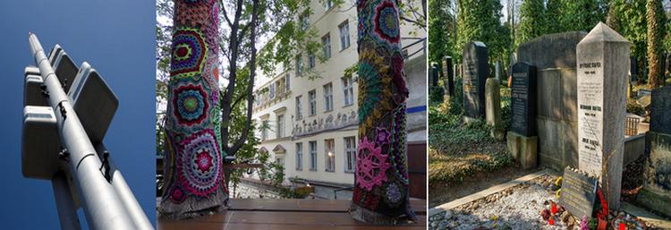 De gauche à droite : Tour de télévision à Zizkov (Copyright Czech Tourism);  Café dans un jardin à Zizkov  (copyright C.Gary) ; Tombeau Franz Kafka à Zizkov (Copyright Czech Tourism )