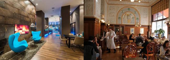 De gauche à droite : Hall d' accueil à l'hôtel Motel One (Copyright DR); Une des magnifiques salles du Café Impérial. (Copyright DR)