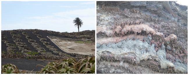 De gauche à droite : Cultures protégées par des murets et du picon ;  Effets de l'érosion Route des volcans (Copyright C.Gary)