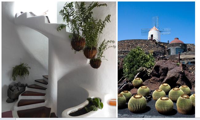 De gauche à droite : Intérieur du Mirador Del Rio;  A Guatiza, c'est dans une ancienne carrière de pierre que Manrique à dessiné les méandres de son Jardin de Cactus en misant sur l'extraordinaire variété de ces plantes (Copyright C.Gary et CM)