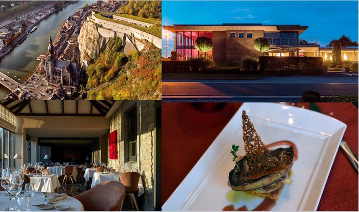 De gauche à droite : vue aérienne de Dinant (copyright WBT S.Wittenbol); Espace Medissey (Copyright Antoine Melis); Maison Lemonnier et le restaurant l'Eau Vive dirigé par le célèbre chef Resimond (photos David Raynal)