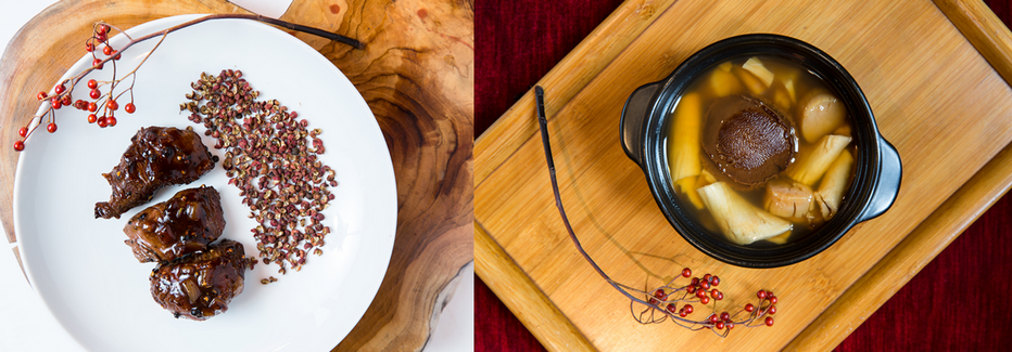 De gauche à droite : Bœuf au poivre du Sichuan longuement mijoté pour ceux qui aiment les plats pimentés; Ormeaux séchés cuits dans un bouillon parfumé avec des pétoncles et des champignons.  Copyright  Chezly17.com