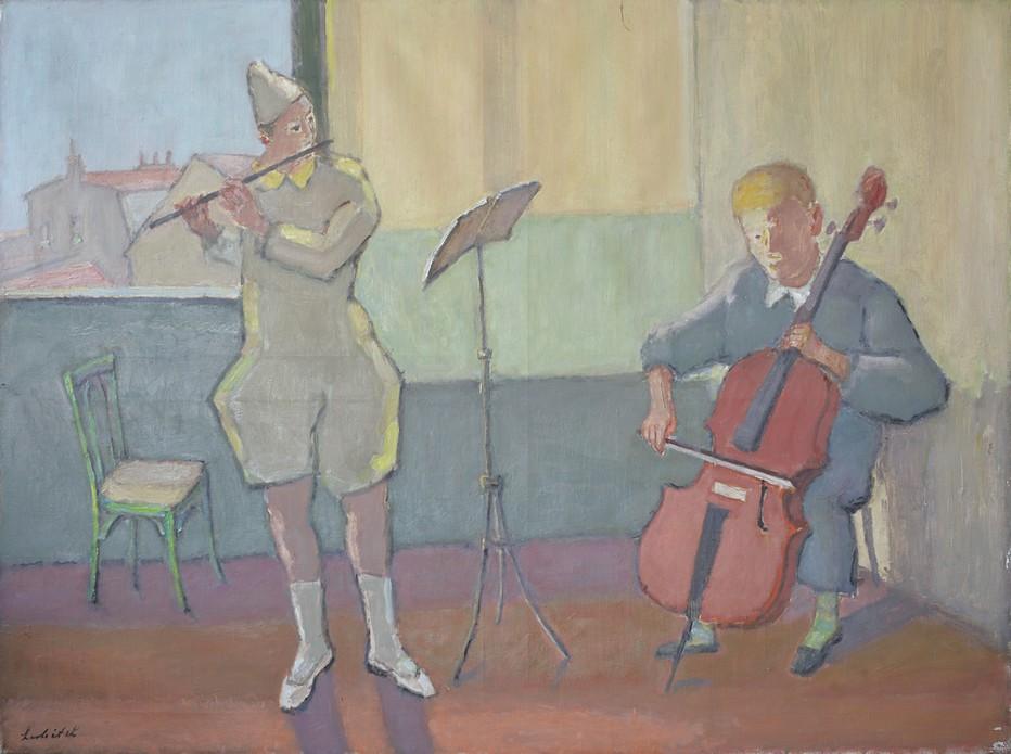 Clowns Musiciens, ca 1960 - Gouache - Signée en bas à gauche - 99 x 132 cm. Crédit photo Eric Pineau.