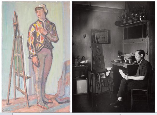 L'arlequin au chevalet, 1946 - Huile sur toile - Signée en bas à gauche - 65 x 40 cm. Le peintre dans son atelier de la rue d'Odessa. Crédit photo Eric Pineau/ D.R.