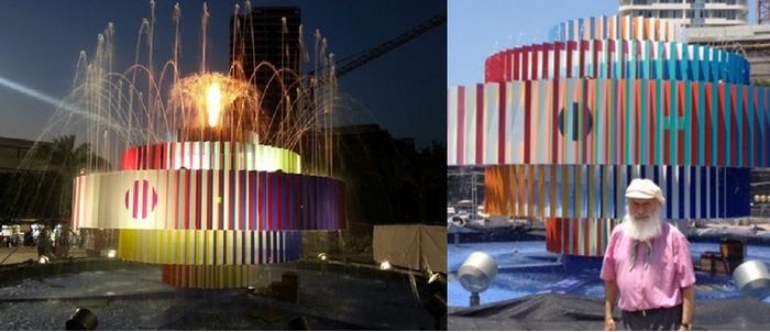 Rue Dizengoff, à proximité de la fontaine musicale aux couleurs cinétiques du sculpteur Agam sur la photo. (copyright Kwest Gallery)