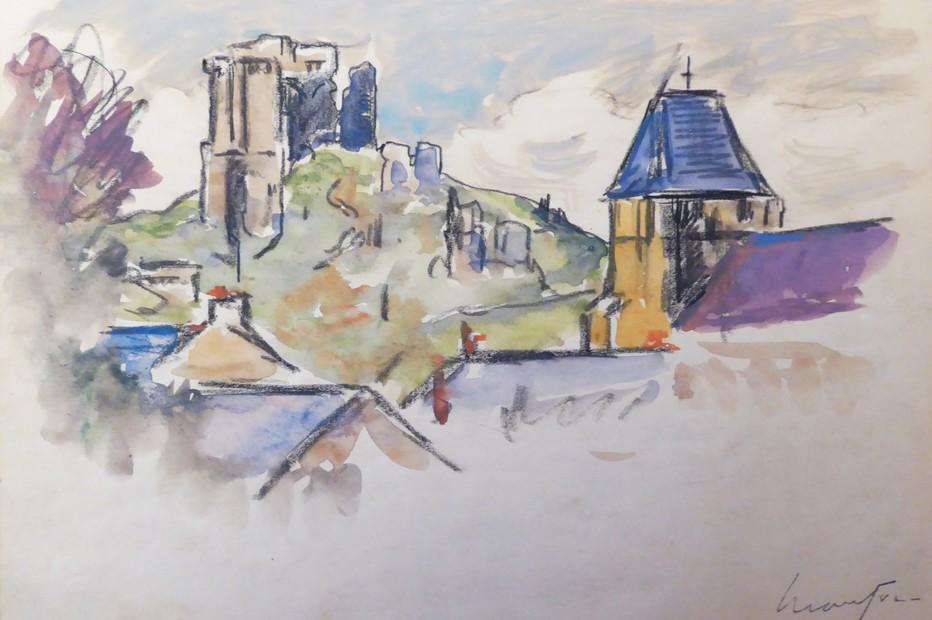 Vue de l'église et du château-Lavardin  à l'est de Poncé-sur-Loir© collection privée.