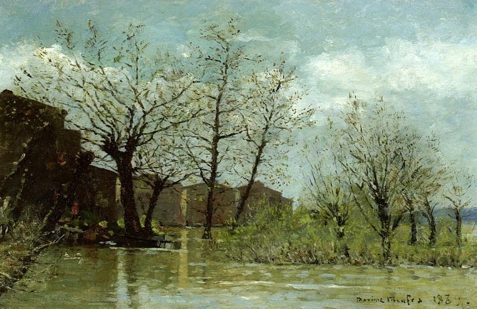 En 1886, il participe pour la première fois au salon des Artistes français avec deux toiles dont « inondations à Nantes » © collection privée.