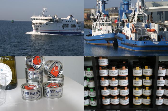 En haut de gauche à droite :   Départ en Ferry pour l île de Groix ; Remorqueurs dans la rade de Lorient. En bas de gauche à droite : : Conserves de GROIX & NATURE. © Richard Bayon