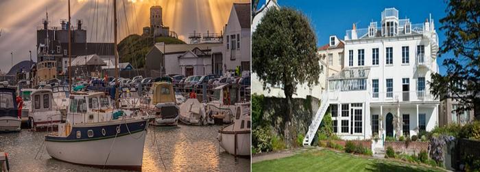 De gauche à droite : Le port de St Sampson. La ville de St Peter abrite sur ses hauteurs la maison de Victor Hugo, Hauteville House. Copyright visitguernesey