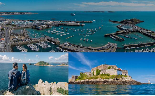 Haut : Vue aérienne de la Marina St-Peter;  En bas de gauche à droite : Diversité et attraits de l'île de Guernesey entre balades sur les sentiers côtiers, baignades et découvertes historiques. Copyright visitguernesey
