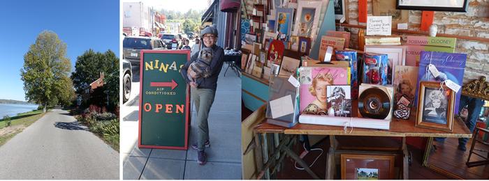 Augusta fief de la famille Clooney, photo de gauche la maison-musée de la tante Rosemary, et à droite Nina, la mère de George, fidèle au poste de son magasin d'objets plus ou moins antiques dans Main Street. © Xavier Bonnet
