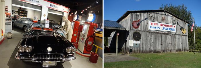 """De gauche à droite : Musée Corvette;  Rosine Barn, la grange ou étaient organisées les jamborees les plus """"sauvages"""".© Xavier Bonnet"""