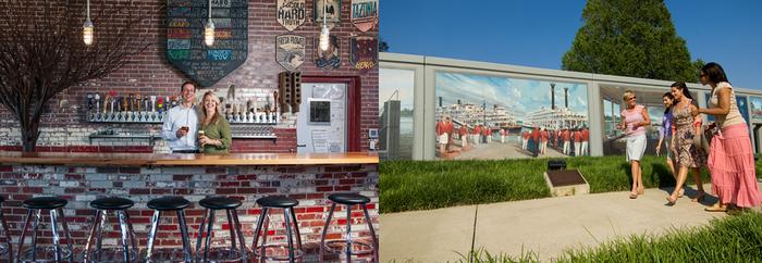 De gauche à droite : A Paducah pizzeria de la chaîne Mellow Mushroom. A droite  Paducah est également une ville-étape des croisières des immenses bateaux à roues à aubes qui sillonnent l'Ohio River avec de superbes peintures murales sur les digues le long des berges ©  DR