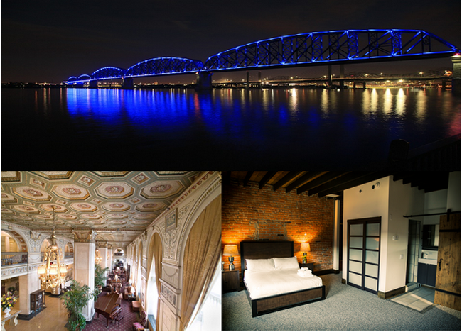 En haut : Big Four Bridge Night Shot  © Lindigomag/Pixabay; en bas de gauche à droite :  Le Brown Hotel (Louisville) et The 1857 Hotel (Paducah) © DR