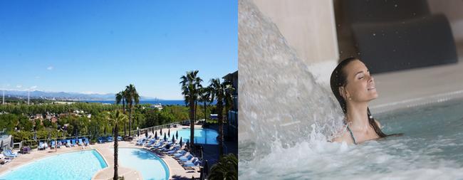 Thalazur Antibes propose  trois piscines extérieures d'eau de mer inondées de soleil dont une chauffée en saison.Copyright DR