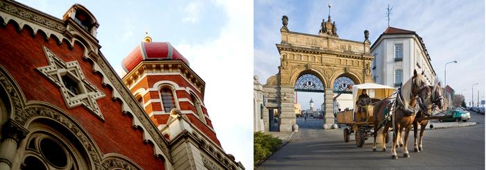 De gauche à droite : A Pilsen Détail de la grande synagogue, troisième  en taille du monde ; Arc d'honneur érigé en 1892 pour les 50 premières années de la brasserie Pilsner © C.Gary