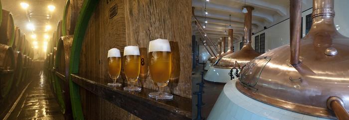 De gauche à droite : A Pilsen , Des kilomètres de souterrains ont creusé les sous sols. C'est là que mûrit la bière et Les cuves en cuivre où est brassée la fameuse bière Pilsner  © C.Gary