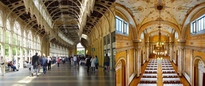 De gauche à droite :  Pour la promenade quotidienne à l'abri du soleil ou des intempéries, rien de tel que la plus vaste colonnade de Tchéquie ;  Sous les ors du Casino des concerts ont lieu toute l'année  © C.Gary
