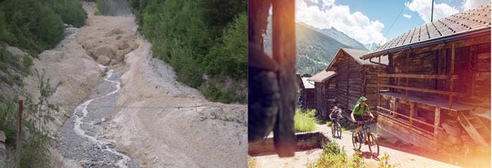 :L'un des points  d'attraction spectaculaire du paysage de Chandolin est l'Illgraben, un gouffre vertigineux de plus de 1 500 mètres de hauteur  © OT Valais