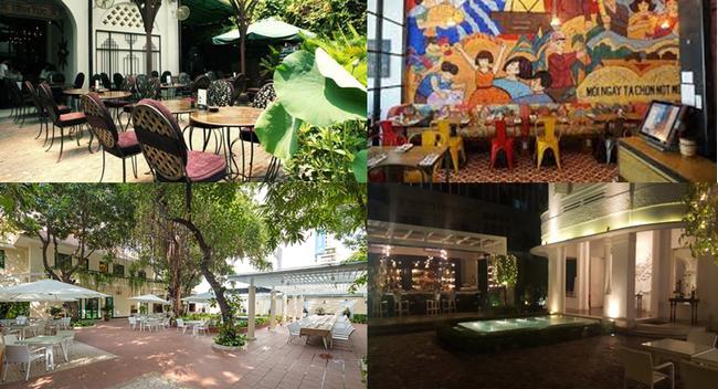 De gauche à droite :Restaurant Hoa Tuc © DR; Restaurant Propaganda © DR; En bas de gauche à droite : Le restaurant en plein air du restaurant Cochinchine-Saïgon Le Cochinchine © Cochinchine-Saïgon; Jardin du Ly Club © DR