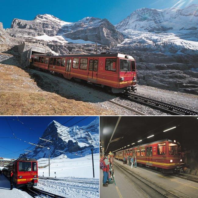 En haut : l'entrée du tunnel (7,11 km) dans l'Eiger @ DR; En bas de gauche à droite :  Kleine Schedegg et l'Eiger et la gare terminale au jungfraujoch. @ DR