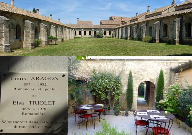 En haut :  La Chartreuse @ Wikipedia;  Plaque commémorative; Petit déjeuner dans le jardin de l'Hôtel de l'Atelier  @ C.Gary