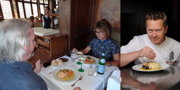 De gauche à droite : Les clients se pressent pour déjeuner ou dîner dans un cadre hors du commun. ©Bertrand Munier; ) Hubert Lépine, l'actuel chef de cuisine de ce haut-lieu féerique et gastronomique strasbourgeois. ©Maison Kammerzell