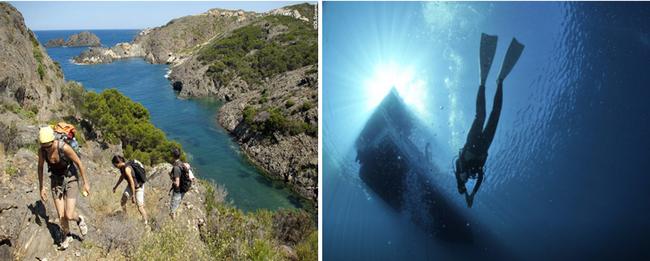 Les plaisirs de la randonnée entre marche, plongée sous-marine et autres activités sportives. @ D.Sorano et DR]
