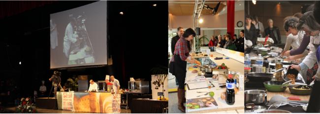 Cours de cuisine, démonstration des grands chefs, le tout devant un très grand public... Copyright SILG