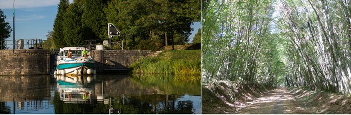 De gauche à droite : L'écluse du port de la Jonction permet de rejoindre le canal du Nivernais ; Balade à pied ou en 2 roues sous les grands arbres de la voie verte Copyright C.Gary