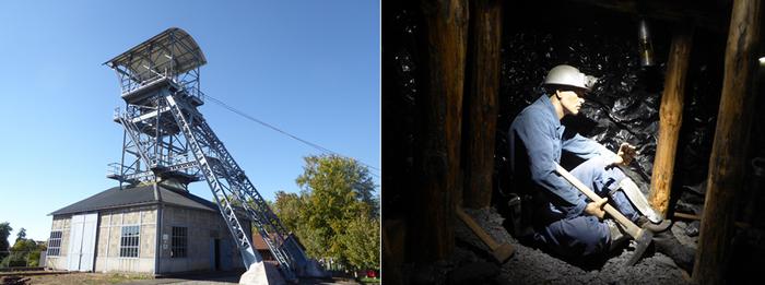 De gauche à droite : Ancienne line de La Machine , Copyright C.Gary; Reconstitution du dur métier des mineurs le long des sombres boyaux, à 690 mètres sous terre , Copyright C.Gary