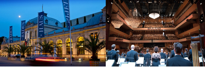 La salle d'opéra a été conçue sur les voies de l'ancienne gare de chemin de fer, tandis que le bâtiment principal néoclassique forme désormais l'entrée du Festspielhaus. © OT Allemagne