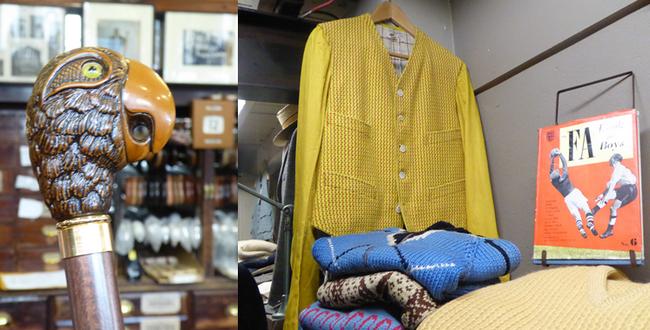 Les cannes à bec de perroquet comme celle de Mary Poppins chez James Smith & Sons  et  Vintage Showroom pour hommes   © C.Gary