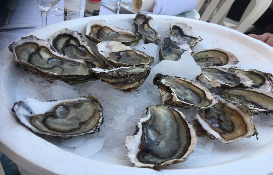 les Vignobles Foncalieu sont passés maîtres dans les alliances du terroir, et mettent en avant nombre de produits régionaux    Notamment les huîtres de Bouzigues  @ R.Bayon,