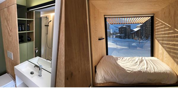 Un concept dû au designer  Ora-ito -  -   un hébergement de 13m2 réunissant un lit double, une salle de bains, une table de nuit et quelques rangements.@ X.Bonnet
